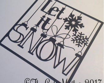 Let It Snow Baubles Christmas Card Paper Cutting Template - Commercial Use