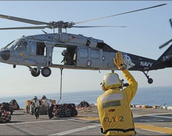 Poster, Many Sizes Available; Sh-60 Sea Hawk Helicopter Aboard Uss Makin Island (Lhd 8)