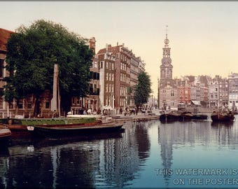 Poster, Many Sizes Available; Singel Canal In Amsterdam, The Netherlands  C1900