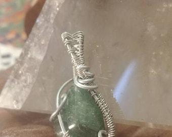 Green Aventurine in silver art wire!