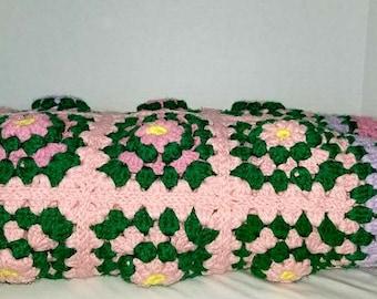 Vintage Crocheted Afghan,LARGE,Granny Square Crocheted Blanket,Crocheted Rosette Afghan,Crochet Afghan,Granny Squares,Crocheted Throw,1970s