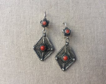 Vintage filigree earrings, silver and coral.