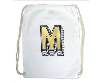 Personalised Drawstring Bag Alphabet Initial Letter gym-sac. Choose your Initial/ monogram- 'Juniper Red' Font- School Sports Bag,