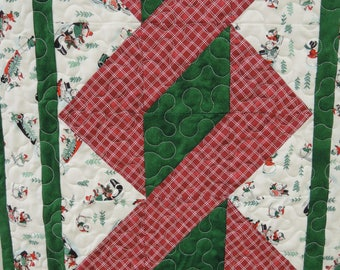 Snowman Twisted North Pole table runner Quilt. table topper candycane Christmas winter red green white