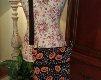 Halloween purse, crossbody purse, Jack o lantern and black cat purse, Halloween bag