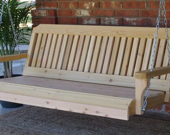 Brand New 6 Foot Cedar Wood Traditional Porch Swing with Hanging Chain - Free Shipping