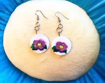 Hand Painted Flower Earrings