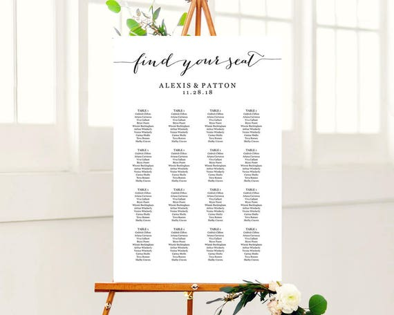 Wedding seating chart template in four sizes 16x20 18x24 20x30 wedding seating chart template in four sizes 16x20 18x24 20x30 24x36 find your seat sign poster diy printable reception sign from crossvinedesigns pronofoot35fo Gallery