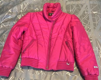 Vintage 80s Fera Ski Jacket Swiss Micro Finish Fuschia Womens 12 Retro!