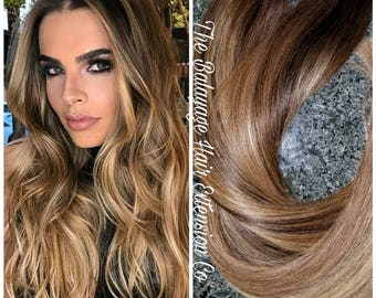 Balayage extensions etsy balayage extensions 120 grams blond honey balayage clip in hair extensions pmusecretfo Gallery