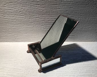 Vertical Business Card Holder - Mirrored Glass - Copper  - Simple, Stunning, Functional, Elegant