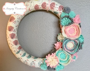 Fabric Wrapped Spring Wreath