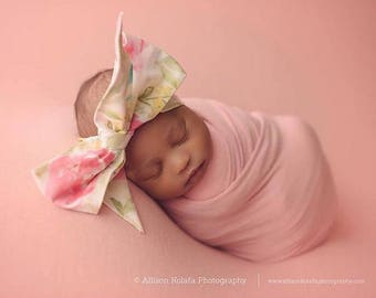 IVORY FLORAL Gorgeous Wrap- headwrap; fabric head wrap; floral head wrap; boho; newborn headband; baby headband; toddler bow