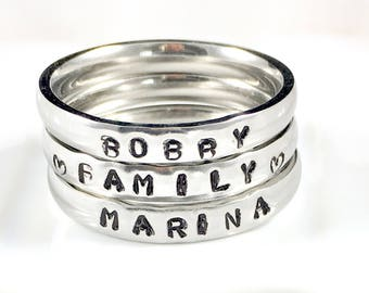 Stackable mothers ring, Personalized stackable name rings, Stackable personalized rings, Stackable initial ring, Stackable rings with names