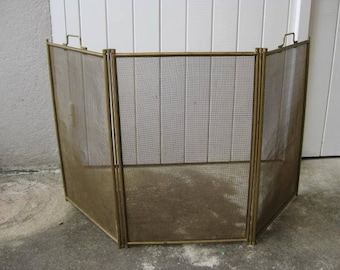 Vintage French fireplace screen, fireguard, spark screen.