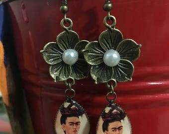 Frida Kahlo Earrings, Frida Kahlo Jewelry, Dangle Earrings, Valentine's Day Gifts, Flower Earrings, Feminist Jewelry, Strong Women