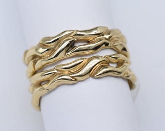 14K Yellow Gold Wedding Band Abstract Design custom carved open-work