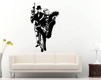 Mafia Couple Gangster Chicago Machine Gun Wall Sticker Decal Vinyl Mural Decor Art L2290