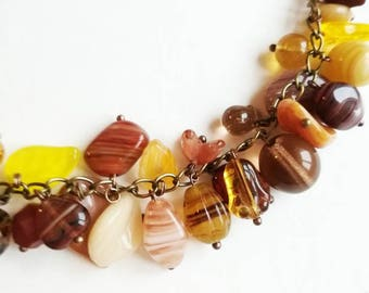 Brown bracelet Czech glass beads mix chain boho bracelet gift for her for Mom unique glass beads chain amber bracelet casual jewelry cuffs