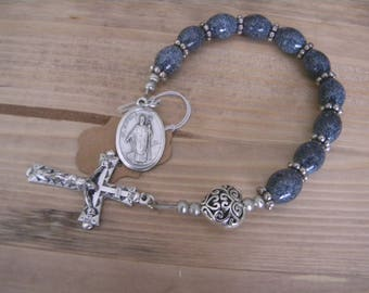 Blue speckled glass one decade rosary