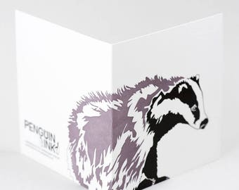 Badger card - Birthday card for him - Animal cards - Blank cards - woodland animals - Letterpress cards - Nature Cards - British wildlife
