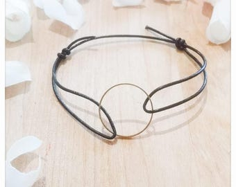 Bracelet minimal black leather