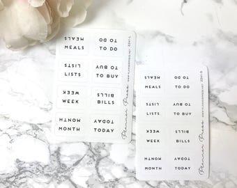 Tab Stickers Simple Chic Black & White - Fits Erin Condren, KikkiK, Filofax Planners and Midori Notebooks 2241
