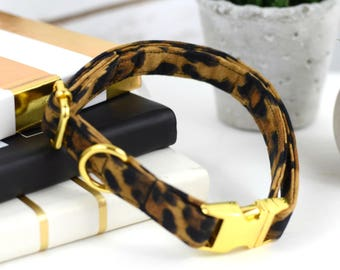 Dog Collar - Leopard Print - Fabric Collar - Yellow Gold Metal Hardware