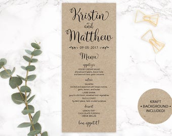 Kraft Paper Wedding Menu, Kraft Paper Printable Menu, Wedding Menu, DIY Wedding Menu, Custom Wedding Menu, Bridal Shower Menu, Wedding