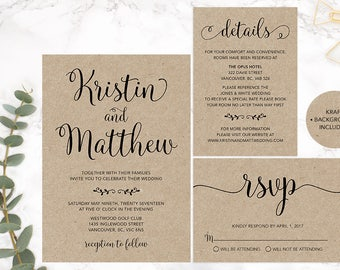 Kraft Paper Wedding Invitation Set, Calligraphy Wedding Invitation Set, Rustic Wedding Invitation Set, Printable Wedding Stationery Set