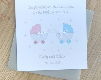 Personalised New Baby Twins Card - Handmade Baby Twins Card - Personalised Twins Cards - Twins Personalised Card - Baby Twins Cards