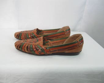 Vintage Ladies Size 8.5 M Colored Leather Flats Leather Woven Shoes Woven Leather Huraches SEE Details