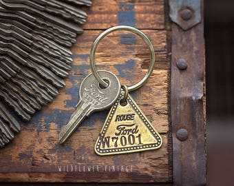 Vintage Ford Key Chain | Hand Stamped Key Ring Gifts for Dad Grandpa Father's Day Anniversary Tool Check Brass Tag