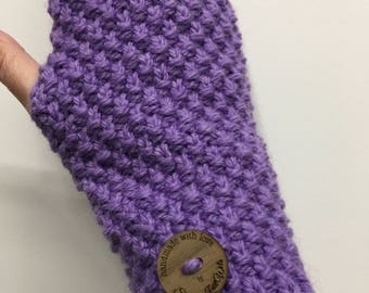 Knitted purple Handwarmers, Fingerless gloves, purple handwarmers, wristwarmers, purple gloves, mens gloves, ladies gloves, alpaca gloves