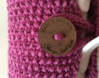 Handmade pink cup cozy or mug, tea cosy, coffee cozy, mug cozy, pink tea cozy, coffee cup cosy, purple cozy, pink coffee cozy