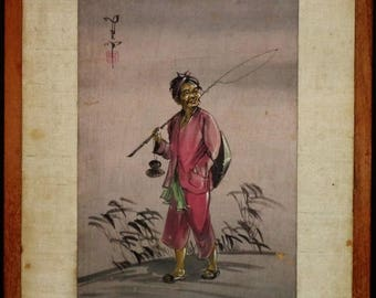 Vintage Asian watercolor painting on silk a rare old fisherman w. flame