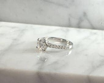 Classic Petite Round Forever One Moissanite Engagement Ring in 14K White Gold w/ Diamonds - Low Profile - No Halo - Petite Ring - Colorless