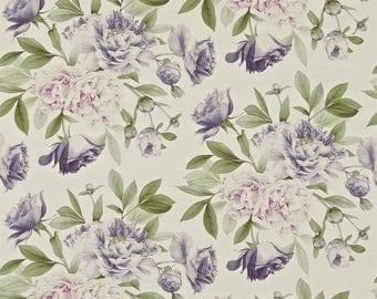 DESIGNER SHABBY PEONY Blossoms Linen Fabric 10 Yards Lavender Lilac Green Multi