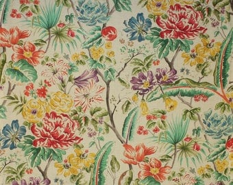 CLARENCE HOUSE MARGOT Floral Linen Fabric 10 Yards Cream Multi