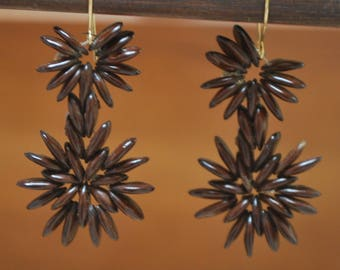 Ipil Ipil Seed Double Flower Earrings