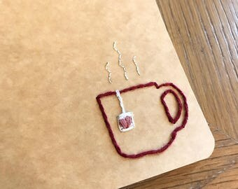 Tea hand-embroidered journal