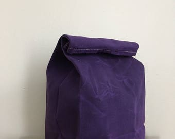 Lunch Bag in Ultra Violet // Waxed Canvas Lunch Bag // Purple Lunch Bag // Violet Bag