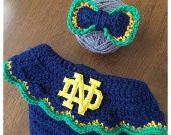 Notre Dame Baby Girl Newborn Hat and Diaper Cover Shower Gift Coming Home Outfit Knit Crochet