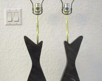 Black Marble & Gold Lamps, Pair