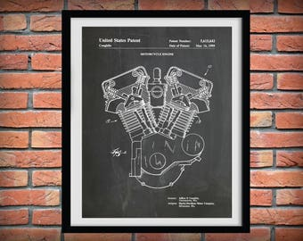 Patent 1999 Harley Engine Twin Cam -  Harley Davidson Motorcycle - Poster - Wall Art -  Hells Angels - Gift Idea - Harley Hog