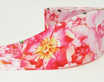 """3"""" inch Shades of Pink Flowers for Romantic Wedding - Printed Grosgrain Ribbon for 3 inch Cheer Hair Bow"""
