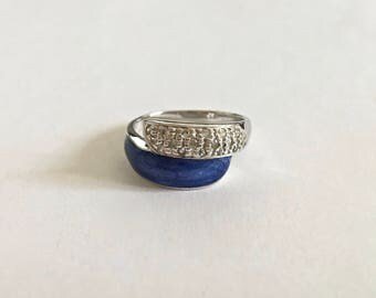 Wrap Ring with Pave Style CZ's adjacent to Blue Lapis Stone in Sterling Silver Setting - Approximate size 10
