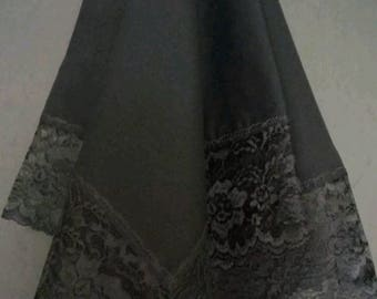 Beautiful Black Cotton Church Lap Scarf with Black Lace