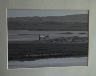 Callanish Croft, Black and White Mounted Photographic Print 9 x 7 inches. Callanish, Croft, Water, Scotland, Wall Art, Home & Office Decor