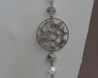 Silver tone necklace with Butterfly color